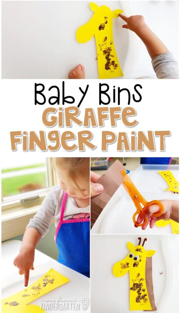 This giraffe finger paint activity is great for fine motor practice and always turns out adorable. Baby Bins are perfect for learning with little ones between 12-24 months old.