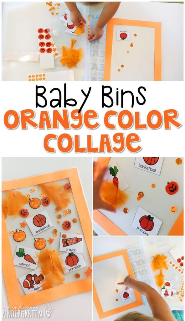 This orange color collage is great for learning the color orange and it is a completely baby safe craft. Plus there's no glue required so no sticky mess or glue eating to clean up! Baby Bins are perfect for learning with little ones between 12-24 months old.