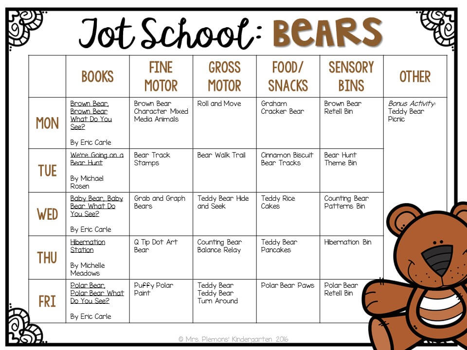 Tons of bear themed activities and ideas. Weekly plan includes books, fine motor, gross motor, sensory bins, snacks and more! Perfect for tot school, preschool, or kindergarten.