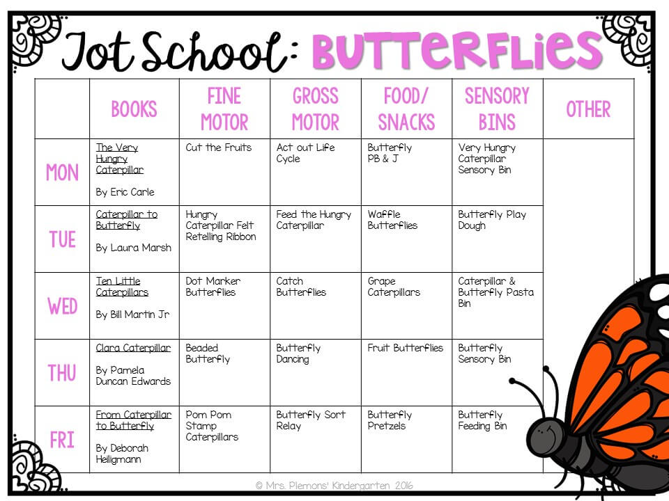 Tons of butterfly themed activities and ideas. Weekly plan includes books, fine motor, gross motor, sensory bins, snacks and more! Perfect for tot school, preschool, or kindergarten.