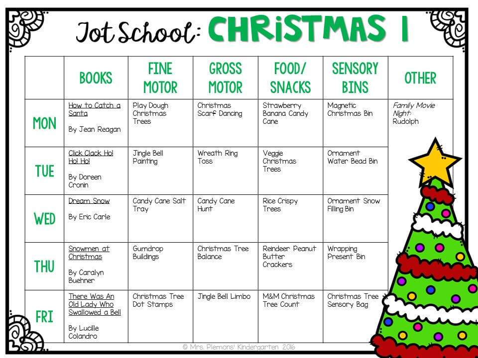 Tons of Christmas themed activities and ideas. Weekly plan includes books, fine motor, gross motor, sensory bins, snacks and more! Perfect for tot school, preschool, or kindergarten.