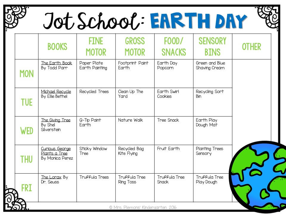 Tons of earth day themed activities and ideas. Weekly plan includes books, fine motor, gross motor, sensory bins, snacks and more! Perfect for tot school, preschool, or kindergarten.