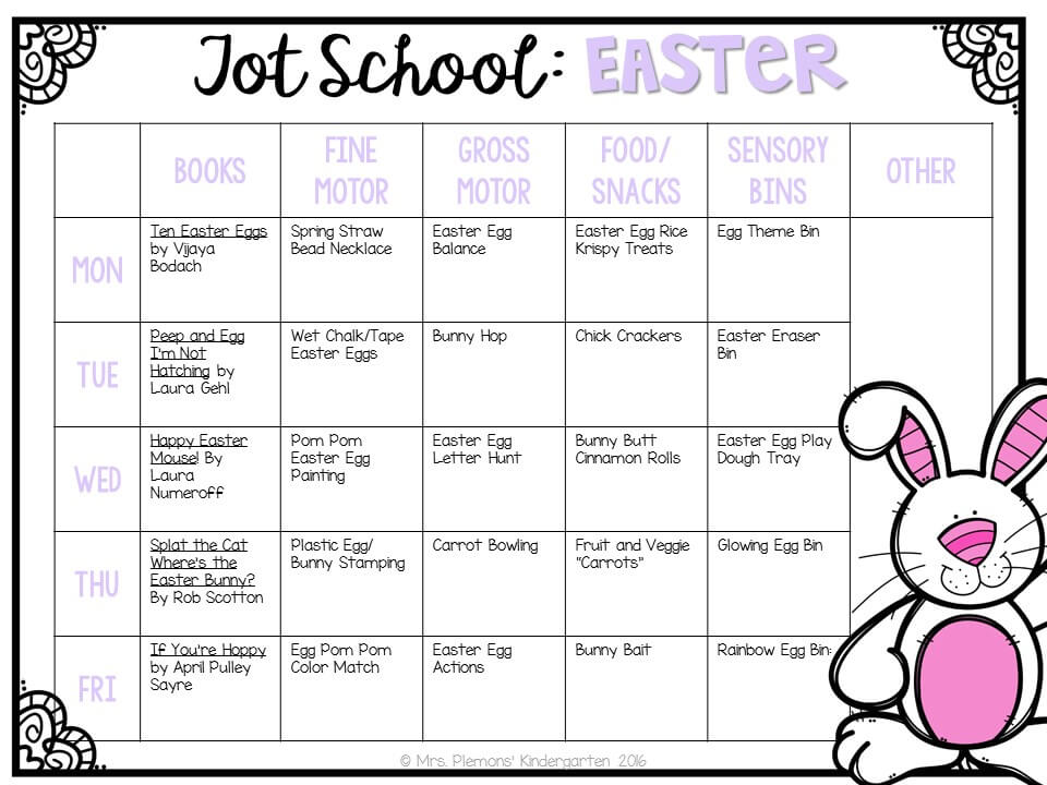 Tons of Easter themed activities and ideas. Weekly plan includes books, fine motor, gross motor, sensory bins, snacks and more! Perfect for tot school, preschool, or kindergarten.