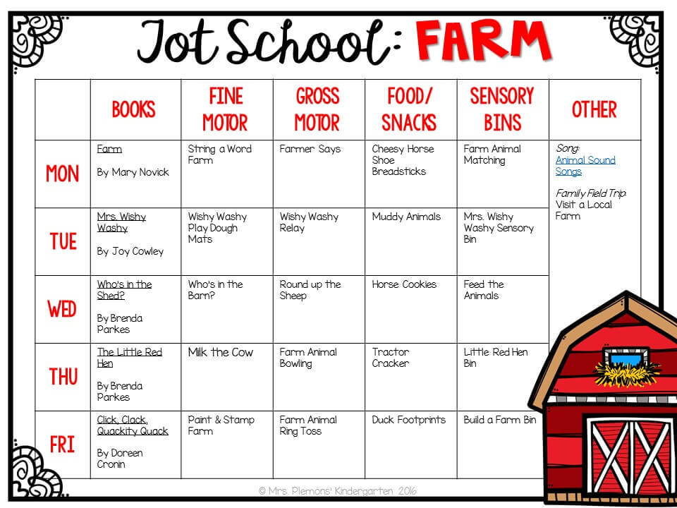 Tons of farm themed activities and ideas. Weekly plan includes books, fine motor, gross motor, sensory bins, snacks and more! Perfect for tot school, preschool, or kindergarten.