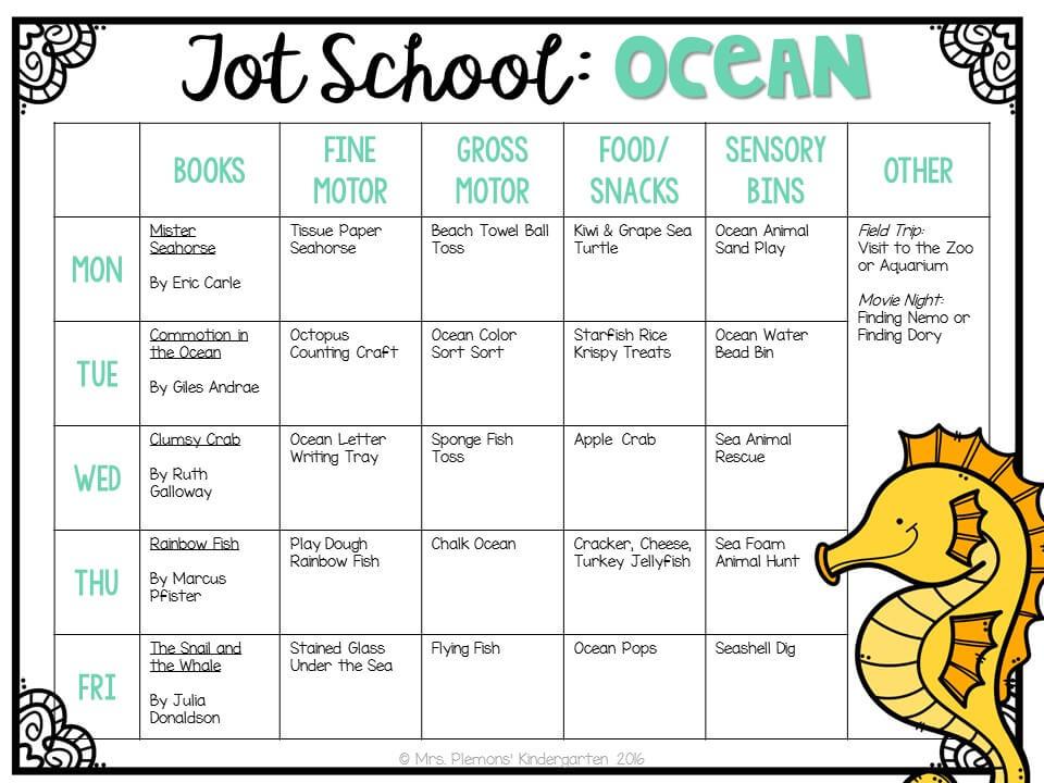 Tons of ocean themed activities and ideas. Weekly plan includes books, fine motor, gross motor, sensory bins, snacks and more! Perfect for tot school, preschool, or kindergarten.