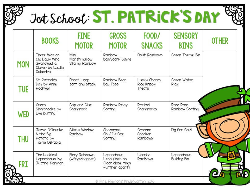 Tons of St. Patrick's Day themed activities and ideas. Weekly plan includes books, fine motor, gross motor, sensory bins, snacks and more! Perfect for tot school, preschool, or kindergarten.