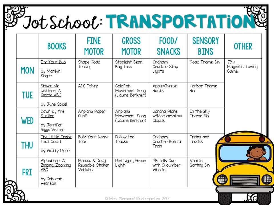 Tons of transportation themed activities and ideas. Weekly plan includes books, fine motor, gross motor, sensory bins, snacks and more! Perfect for tot school, preschool, or kindergarten.