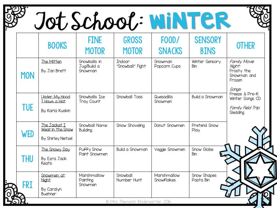 Tons of winter themed activities and ideas. Weekly plan includes books, fine motor, gross motor, sensory bins, snacks and more! Perfect for tot school, preschool, or kindergarten.